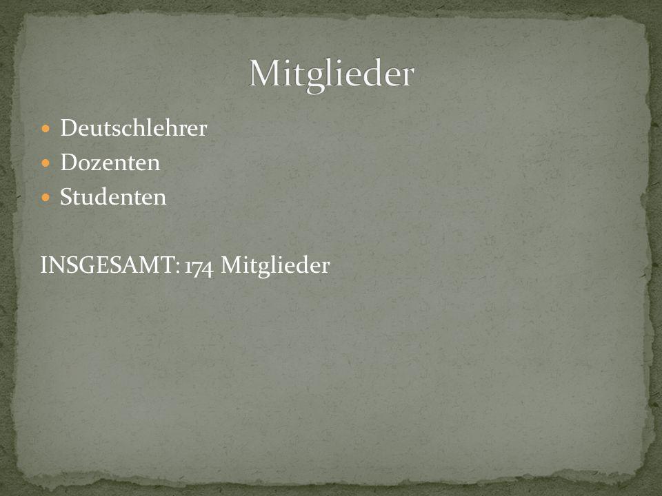 Deutschlehrer Dozenten Studenten INSGESAMT: 174 Mitglieder