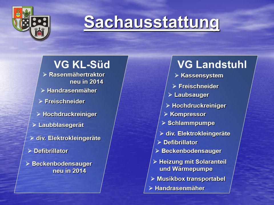 Sachausstattung VG Landstuhl Beckenbodensauger  Beckenbodensauger VG KL-Süd Rasenmähertraktor neu in 2014  Rasenmähertraktor neu in 2014 Handrasenmä