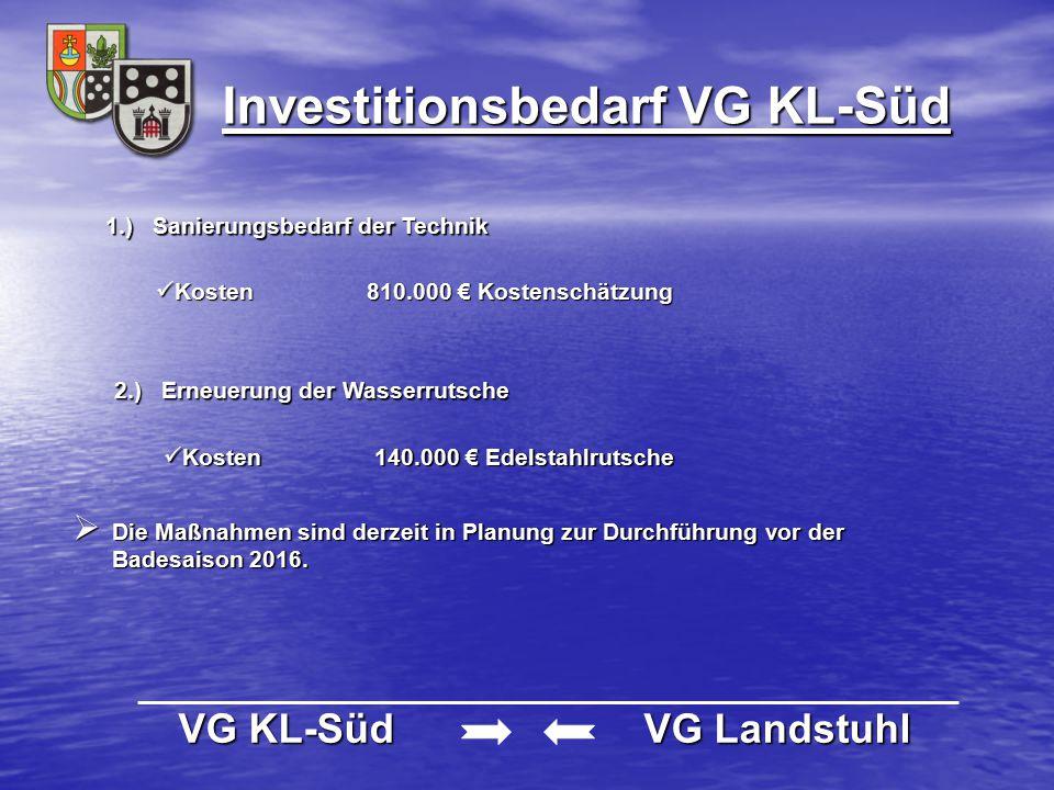Investitionsbedarf VG KL-Süd VG KL-Süd VG Landstuhl VG KL-Süd VG Landstuhl 1.) Sanierungsbedarf der Technik Kosten810.000 € Kostenschätzung Kosten810.