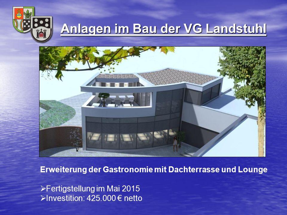 Anlagen im Bau der VG Landstuhl Erweiterung der Gastronomie mit Dachterrasse und Lounge  Fertigstellung im Mai 2015  Investition: 425.000 € netto