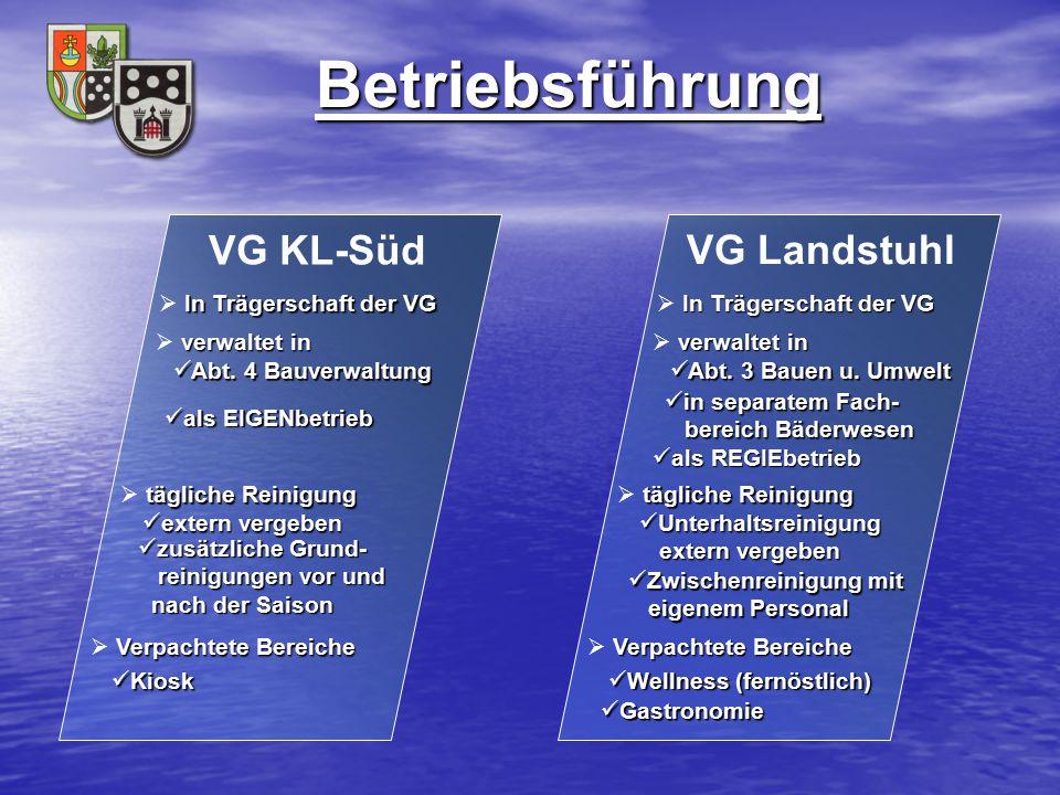 Betriebsführung VG Landstuhl In Trägerschaft der VG  In Trägerschaft der VG verwaltet in  verwaltet in Abt. 3 Bauen u. Umwelt Abt. 3 Bauen u. Umwelt