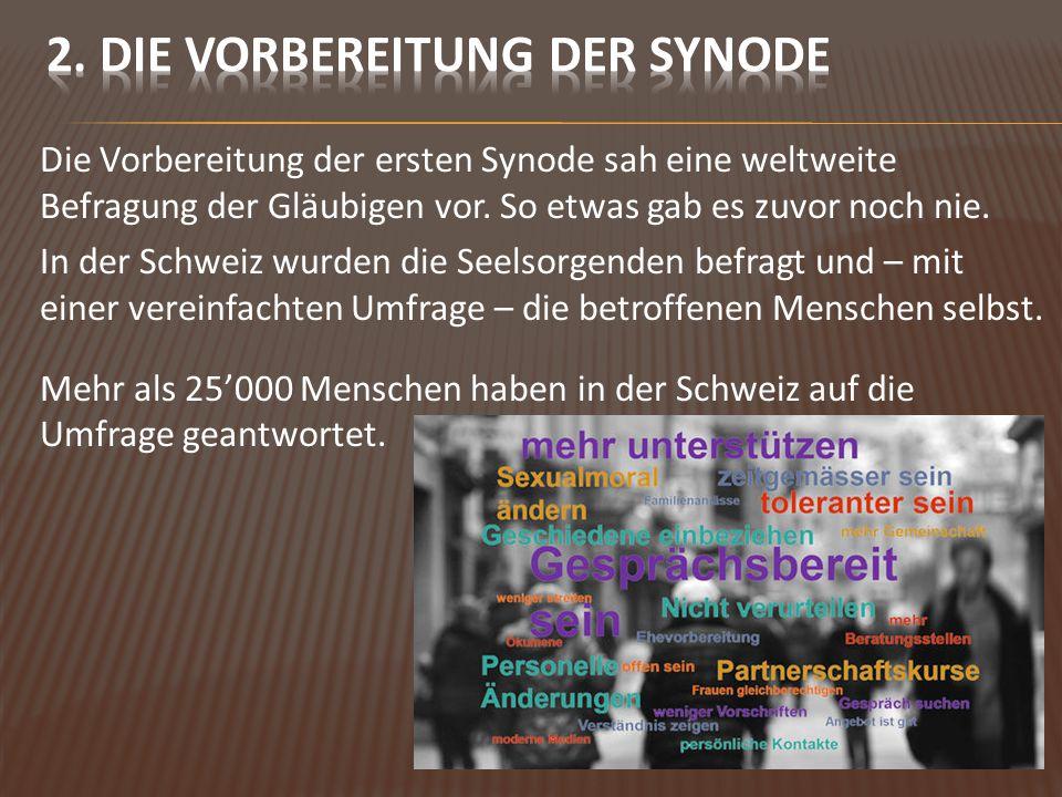Die Vorbereitung der ersten Synode sah eine weltweite Befragung der Gläubigen vor.