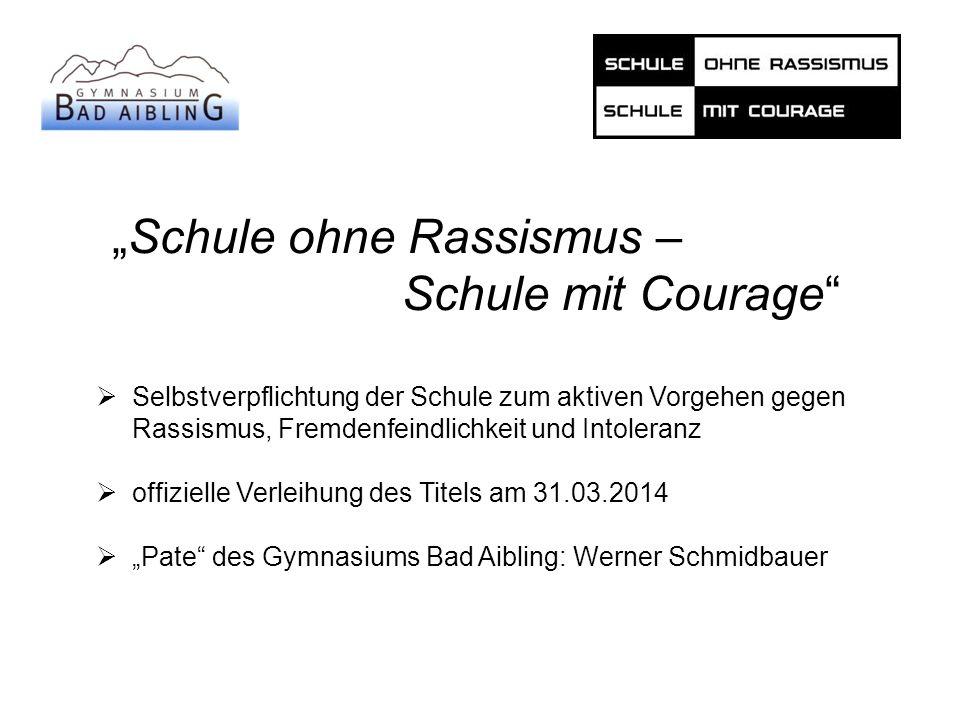 """""""Schule ohne Rassismus – Schule mit Courage""""  Selbstverpflichtung der Schule zum aktiven Vorgehen gegen Rassismus, Fremdenfeindlichkeit und Intoleran"""