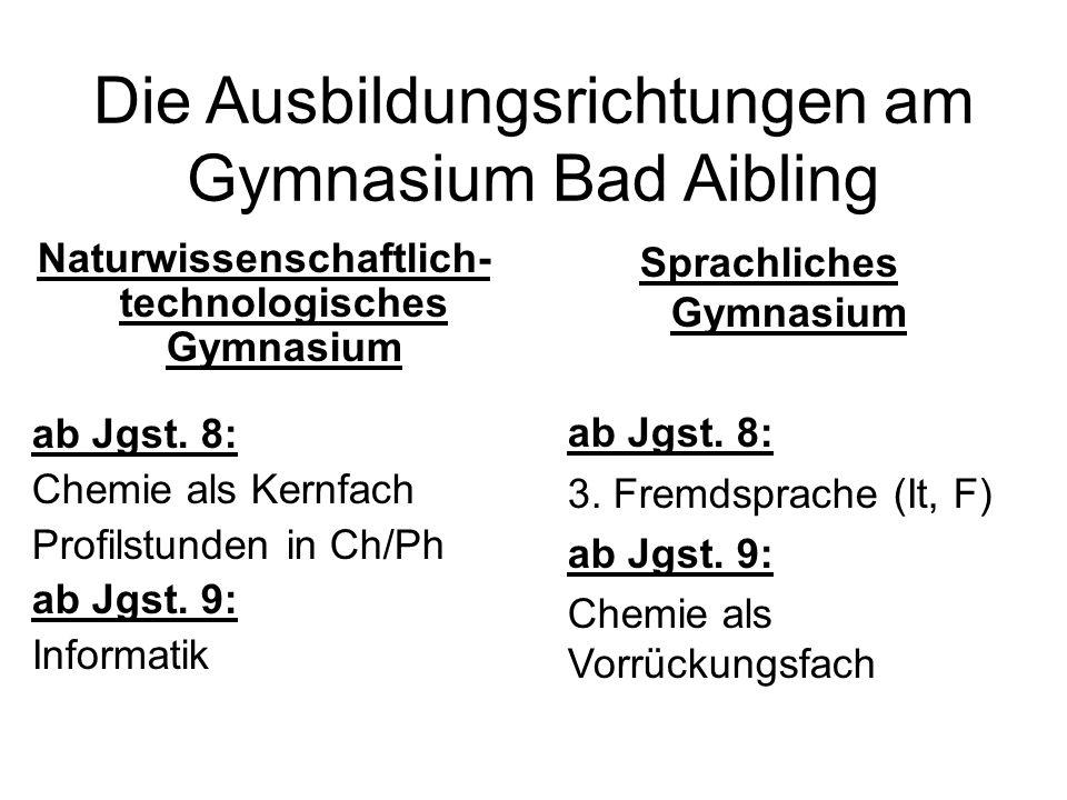 Die Ausbildungsrichtungen am Gymnasium Bad Aibling Naturwissenschaftlich- technologisches Gymnasium ab Jgst. 8: Chemie als Kernfach Profilstunden in C