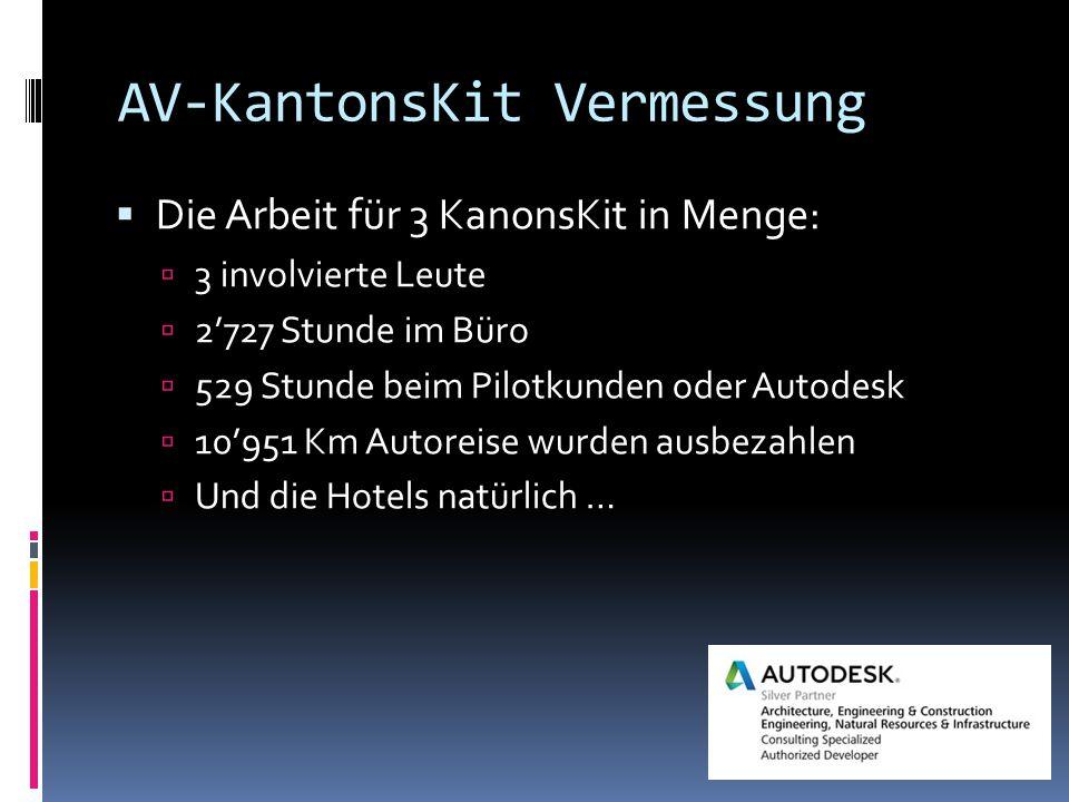 AV-KantonsKit Vermessung  Die Arbeit für 3 KanonsKit in Menge:  3 involvierte Leute  2'727 Stunde im Büro  529 Stunde beim Pilotkunden oder Autodesk  10'951 Km Autoreise wurden ausbezahlen  Und die Hotels natürlich …