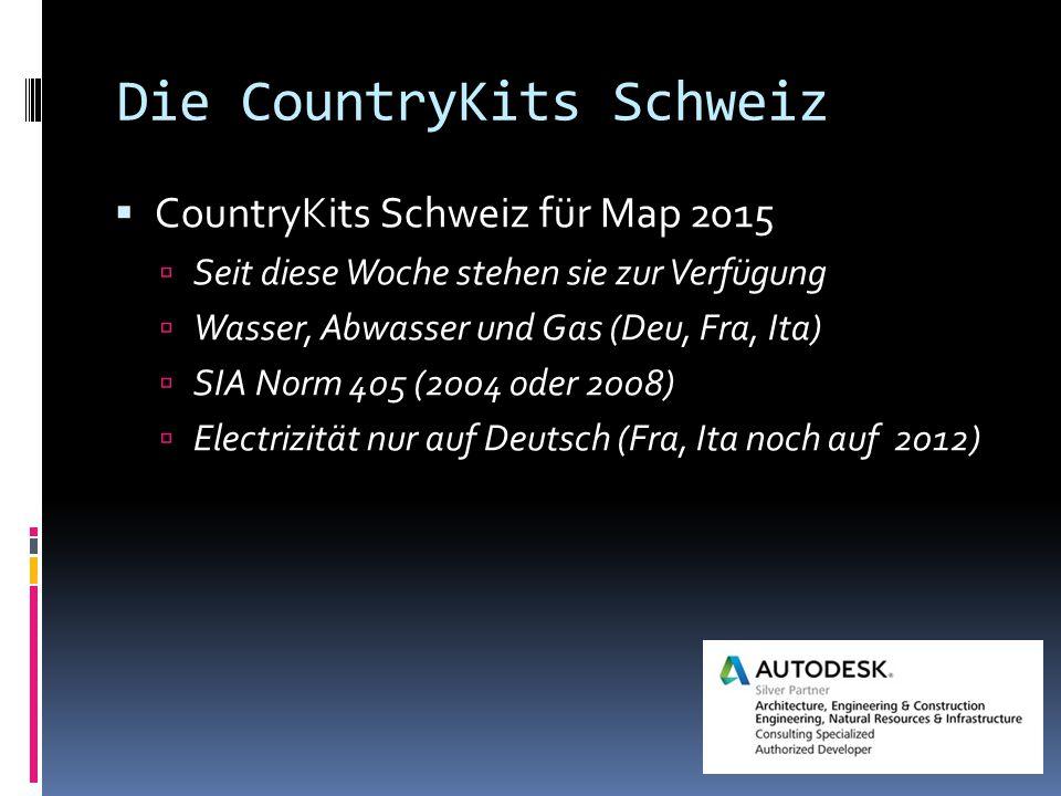 Die CountryKits Schweiz  CountryKits Schweiz für Map 2015  Seit diese Woche stehen sie zur Verfügung  Wasser, Abwasser und Gas (Deu, Fra, Ita)  SIA Norm 405 (2004 oder 2008)  Electrizität nur auf Deutsch (Fra, Ita noch auf 2012)
