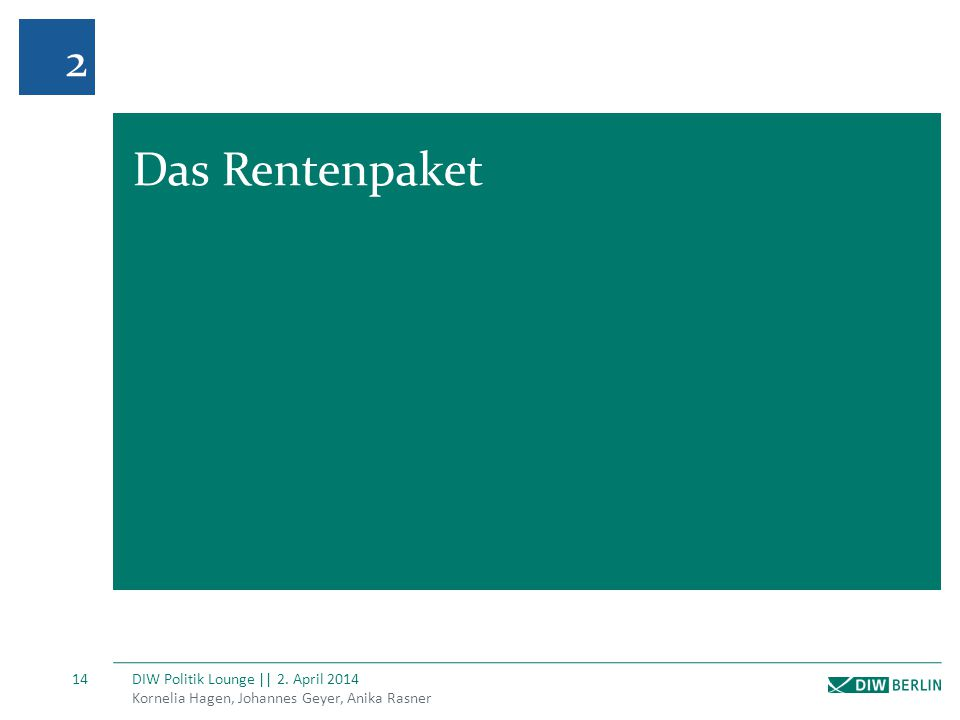 Kornelia Hagen, Johannes Geyer, Anika Rasner DIW Politik Lounge || 2. April 2014 14 2 Das Rentenpaket