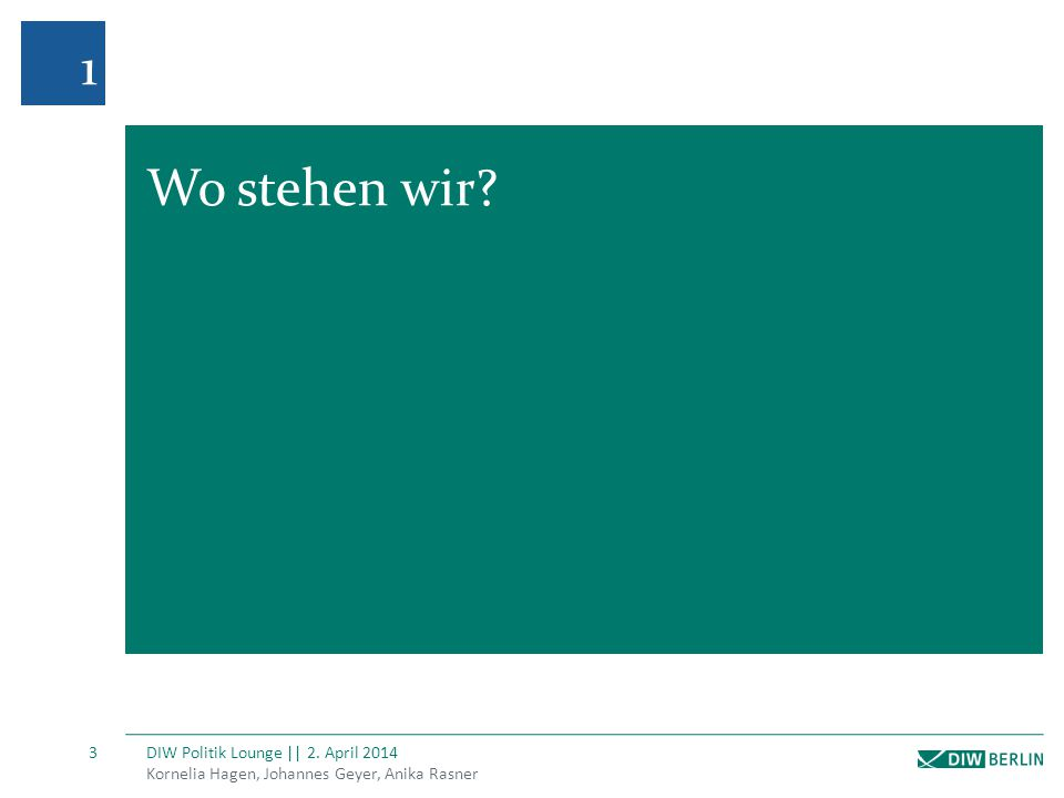 Kornelia Hagen, Johannes Geyer, Anika Rasner DIW Politik Lounge || 2.