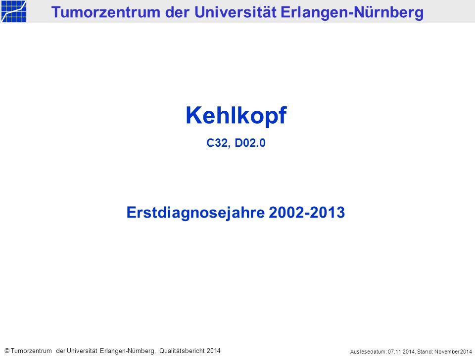 Kehlkopf C32, D02.0 Erstdiagnosejahre 2002-2013 Tumorzentrum der Universität Erlangen-Nürnberg © Tumorzentrum der Universität Erlangen-Nürnberg, Qualitätsbericht 2014 Auslesedatum: 07.11.2014, Stand: November 2014