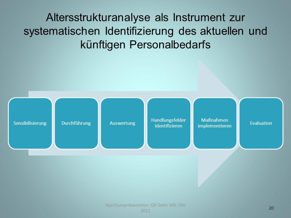 Abschlusspräsentation QR GeKo VAk Okt. 2012 20 Altersstrukturanalyse als Instrument zur systematischen Identifizierung des aktuellen und künftigen Per