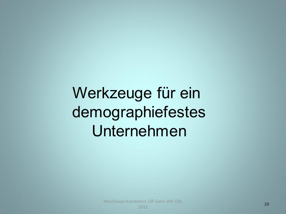 Abschlusspräsentation QR GeKo VAk Okt. 2012 39 Werkzeuge für ein demographiefestes Unternehmen