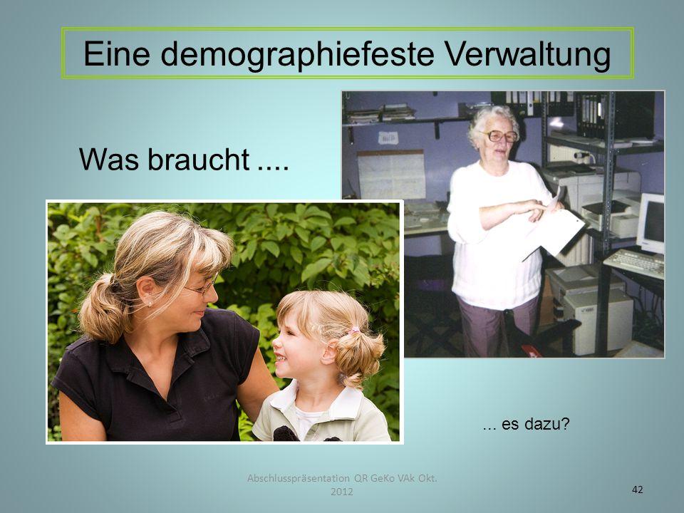 Abschlusspräsentation QR GeKo VAk Okt. 2012 42 Eine demographiefeste Verwaltung Was braucht....... es dazu?