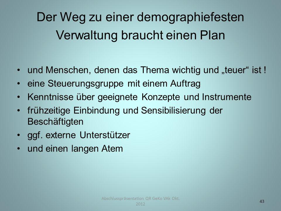 """Der Weg zu einer demographiefesten Verwaltung braucht einen Plan und Menschen, denen das Thema wichtig und """"teuer"""" ist ! eine Steuerungsgruppe mit ein"""