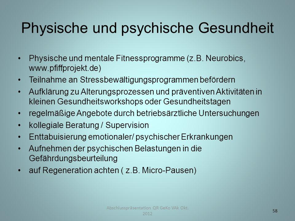 Physische und psychische Gesundheit Physische und mentale Fitnessprogramme (z.B. Neurobics, www.pfiffprojekt.de) Teilnahme an Stressbewältigungsprogra