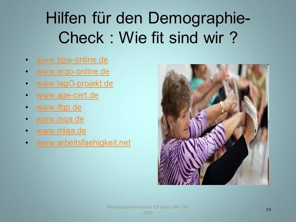 Hilfen für den Demographie- Check : Wie fit sind wir .