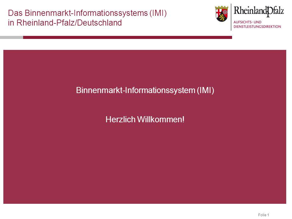 Folie 1 Binnenmarkt-Informationssystem (IMI) Herzlich Willkommen.