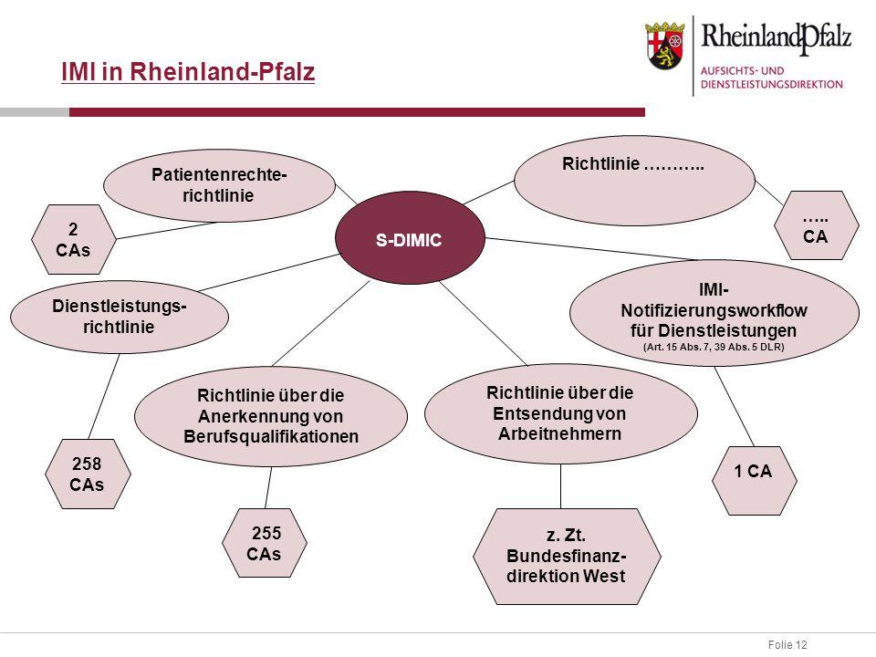Folie 12 IMI in Rheinland-Pfalz S-DIMIC Dienstleistungs- richtlinie Richtlinie über die Anerkennung von Berufsqualifikationen Richtlinie über die Entsendung von Arbeitnehmern IMI- Notifizierungsworkflow für Dienstleistungen (Art.