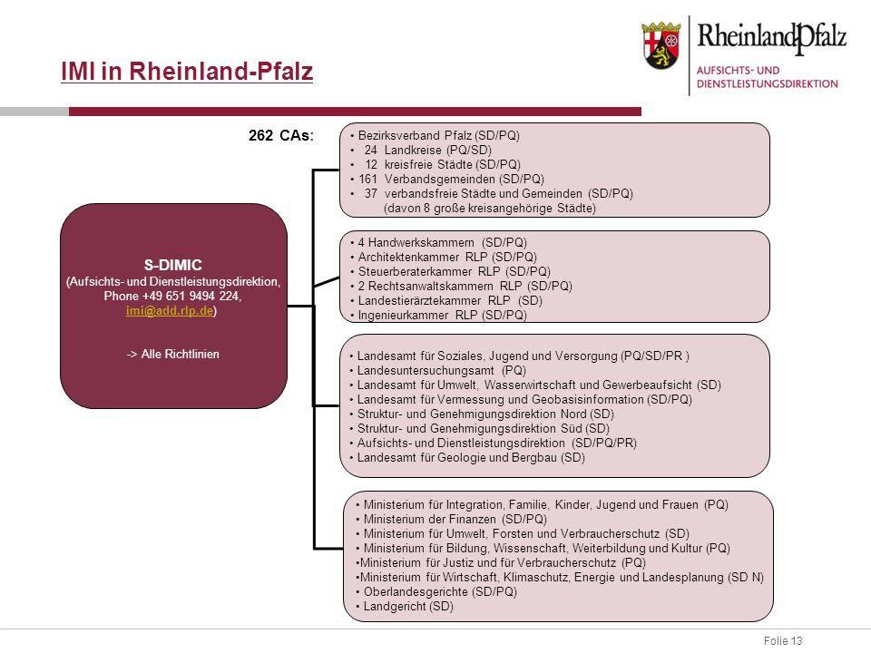 Folie 13 S-DIMIC (Aufsichts- und Dienstleistungsdirektion, Phone +49 651 9494 224, imi@add.rlp.deimi@add.rlp.de) -> Alle Richtlinien Bezirksverband Pfalz (SD/PQ) 24 Landkreise (PQ/SD) 12 kreisfreie Städte (SD/PQ) 161 Verbandsgemeinden (SD/PQ) 37 verbandsfreie Städte und Gemeinden (SD/PQ) (davon 8 große kreisangehörige Städte) 4 Handwerkskammern (SD/PQ) Architektenkammer RLP (SD/PQ) Steuerberaterkammer RLP (SD/PQ) 2 Rechtsanwaltskammern RLP (SD/PQ) Landestierärztekammer RLP (SD) Ingenieurkammer RLP (SD/PQ) Ministerium für Integration, Familie, Kinder, Jugend und Frauen (PQ) Ministerium der Finanzen (SD/PQ) Ministerium für Umwelt, Forsten und Verbraucherschutz (SD) Ministerium für Bildung, Wissenschaft, Weiterbildung und Kultur (PQ) Ministerium für Justiz und für Verbraucherschutz (PQ) Ministerium für Wirtschaft, Klimaschutz, Energie und Landesplanung (SD N) Oberlandesgerichte (SD/PQ) Landgericht (SD) Landesamt für Soziales, Jugend und Versorgung (PQ/SD/PR ) Landesuntersuchungsamt (PQ) Landesamt für Umwelt, Wasserwirtschaft und Gewerbeaufsicht (SD) Landesamt für Vermessung und Geobasisinformation (SD/PQ) Struktur- und Genehmigungsdirektion Nord (SD) Struktur- und Genehmigungsdirektion Süd (SD) Aufsichts- und Dienstleistungsdirektion (SD/PQ/PR) Landesamt für Geologie und Bergbau (SD) IMI in Rheinland-Pfalz 262 CAs: