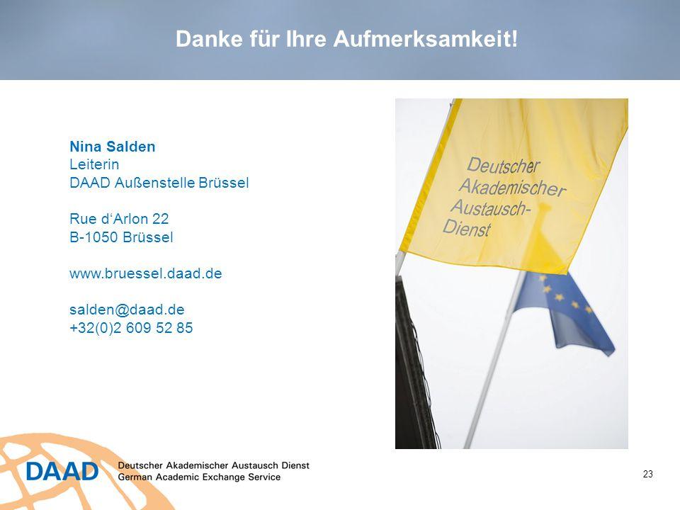23 Nina Salden Leiterin DAAD Außenstelle Brüssel Rue d'Arlon 22 B-1050 Brüssel www.bruessel.daad.de salden@daad.de +32(0)2 609 52 85 Danke für Ihre Au