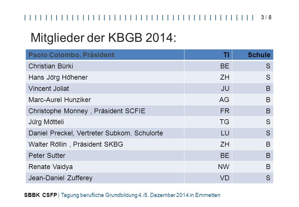 SBBK CSFP | Tagung berufliche Grundbildung 4./5. Dezember 2014 in Emmetten 3 / 8 Mitglieder der KBGB 2014: ey Paolo Colombo, PräsidentTISchule Christi