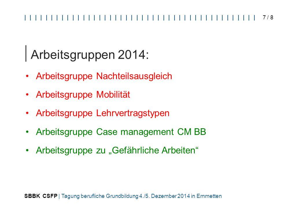 SBBK CSFP | Tagung berufliche Grundbildung 4./5. Dezember 2014 in Emmetten 7 / 8 Arbeitsgruppen 2014: Arbeitsgruppe Nachteilsausgleich Arbeitsgruppe M
