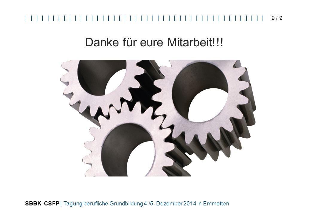 SBBK CSFP | Tagung berufliche Grundbildung 4./5. Dezember 2014 in Emmetten 9 / 9 Danke für eure Mitarbeit!!!