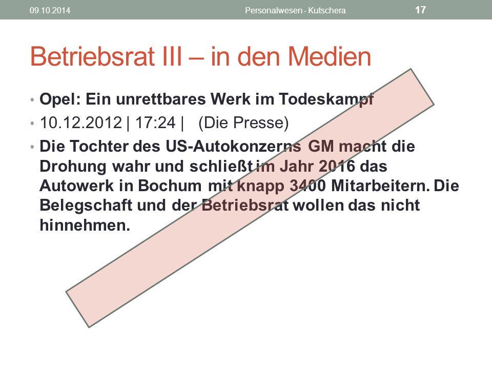 Betriebsrat III – in den Medien Opel: Ein unrettbares Werk im Todeskampf 10.12.2012 | 17:24 | (Die Presse) Die Tochter des US-Autokonzerns GM macht di