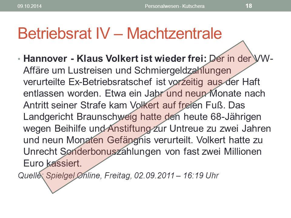 Betriebsrat IV – Machtzentrale Hannover - Klaus Volkert ist wieder frei: Der in der VW- Affäre um Lustreisen und Schmiergeldzahlungen verurteilte Ex-B