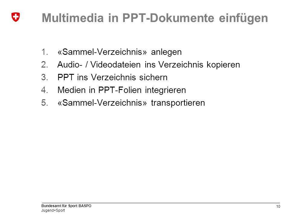 10 Bundesamt für Sport BASPO Jugend+Sport Multimedia in PPT-Dokumente einfügen 1.«Sammel-Verzeichnis» anlegen 2.Audio- / Videodateien ins Verzeichnis