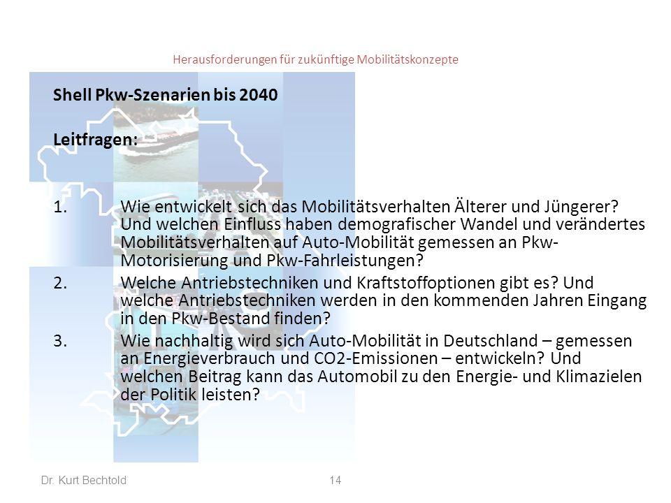 Herausforderungen für zukünftige Mobilitätskonzepte Shell Pkw-Szenarien bis 2040 Leitfragen: 1.Wie entwickelt sich das Mobilitätsverhalten Älterer und