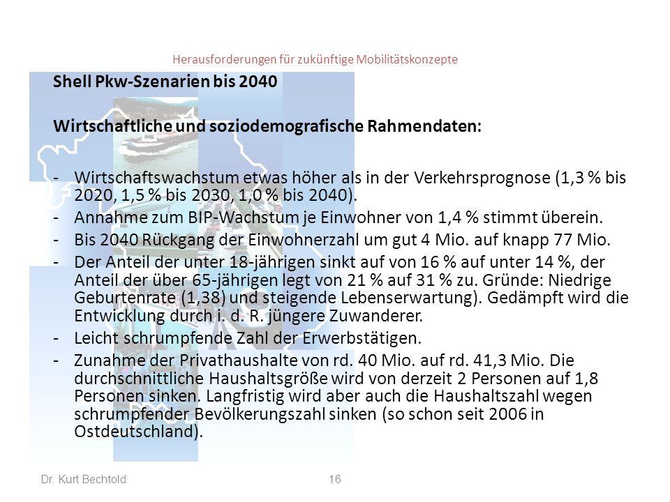 Herausforderungen für zukünftige Mobilitätskonzepte Shell Pkw-Szenarien bis 2040 Wirtschaftliche und soziodemografische Rahmendaten: -Wirtschaftswachs