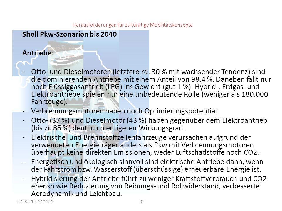 Herausforderungen für zukünftige Mobilitätskonzepte Shell Pkw-Szenarien bis 2040 Antriebe: -Otto- und Dieselmotoren (letztere rd. 30 % mit wachsender