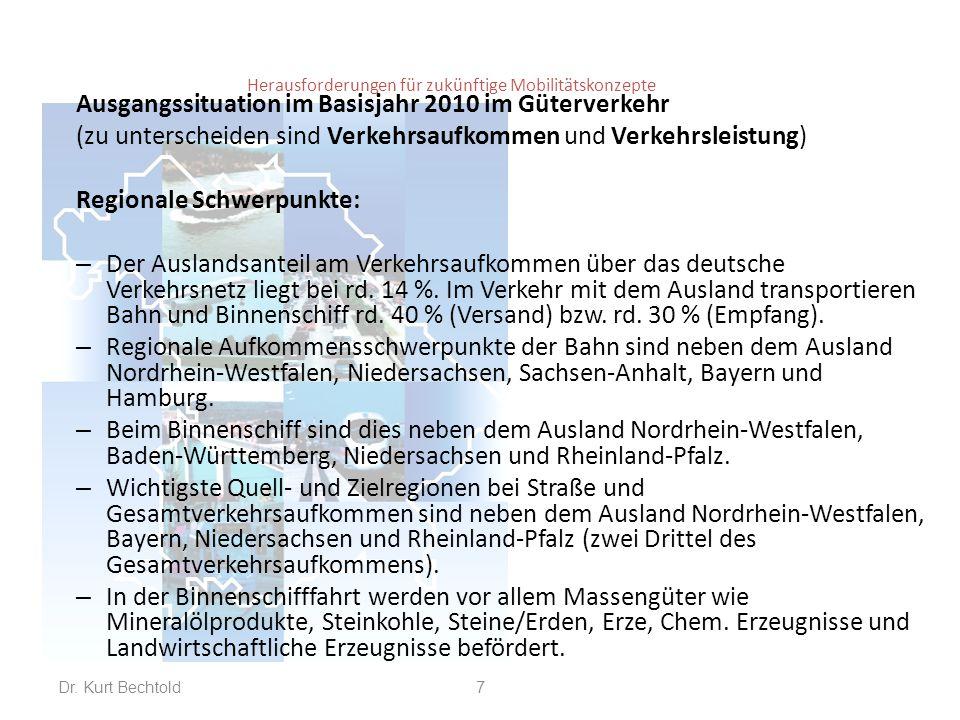 Herausforderungen für zukünftige Mobilitätskonzepte Ausgangssituation im Basisjahr 2010 im Güterverkehr (zu unterscheiden sind Verkehrsaufkommen und Verkehrsleistung) Regionale Schwerpunkte/Transportweite: – Der Auslandsanteil am Verkehrsaufkommen über das deutsche Verkehrsnetz liegt bei rd.