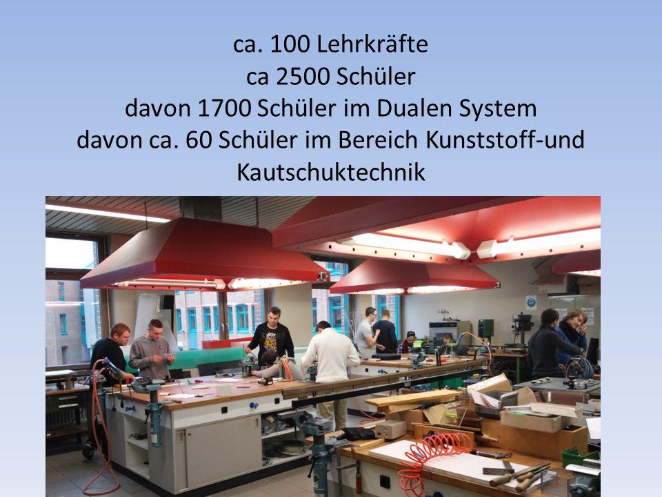 ca. 100 Lehrkräfte ca 2500 Schüler davon 1700 Schüler im Dualen System davon ca. 60 Schüler im Bereich Kunststoff-und Kautschuktechnik