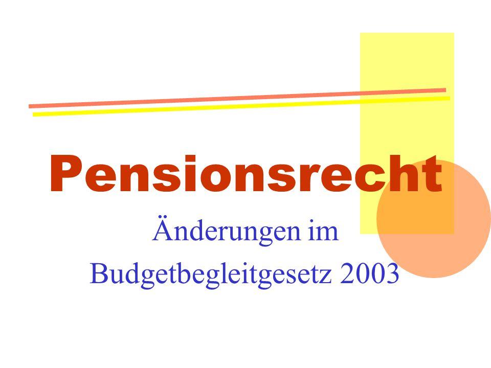 Pensionsrecht Änderungen im Budgetbegleitgesetz 2003