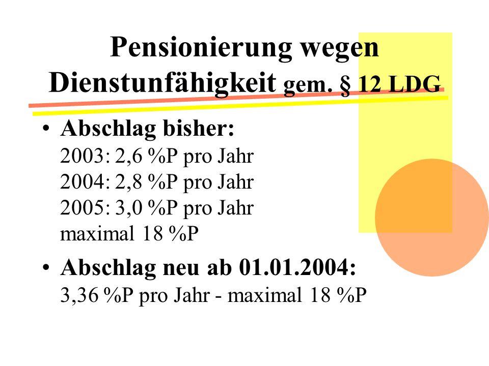 Pensionierung wegen Dienstunfähigkeit gem.