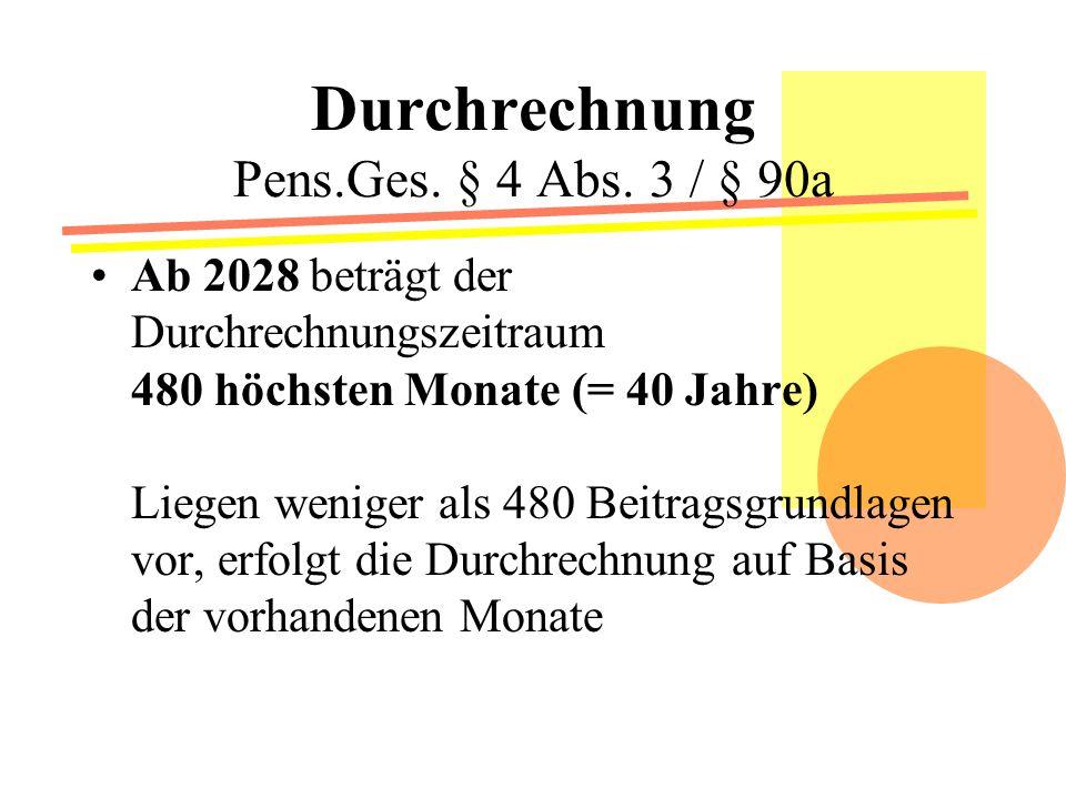 Durchrechnung Pens.Ges.§ 4 Abs.