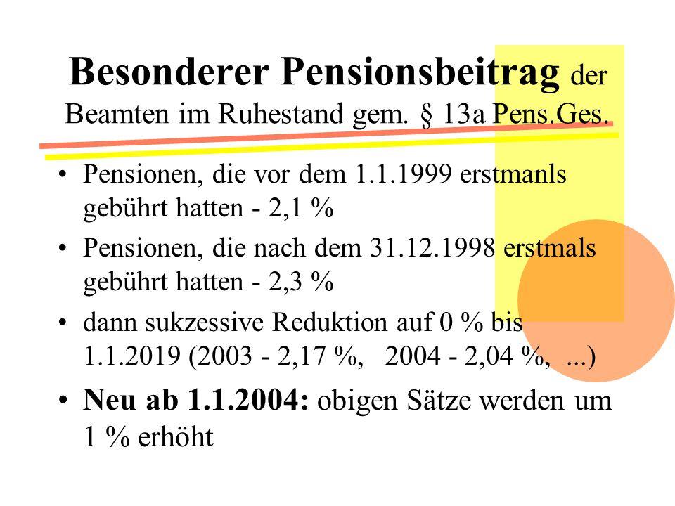 Besonderer Pensionsbeitrag der Beamten im Ruhestand gem.