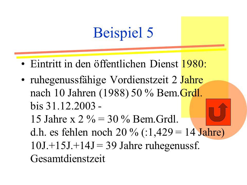 Beispiel 5 Eintritt in den öffentlichen Dienst 1980: ruhegenussfähige Vordienstzeit 2 Jahre nach 10 Jahren (1988) 50 % Bem.Grdl.