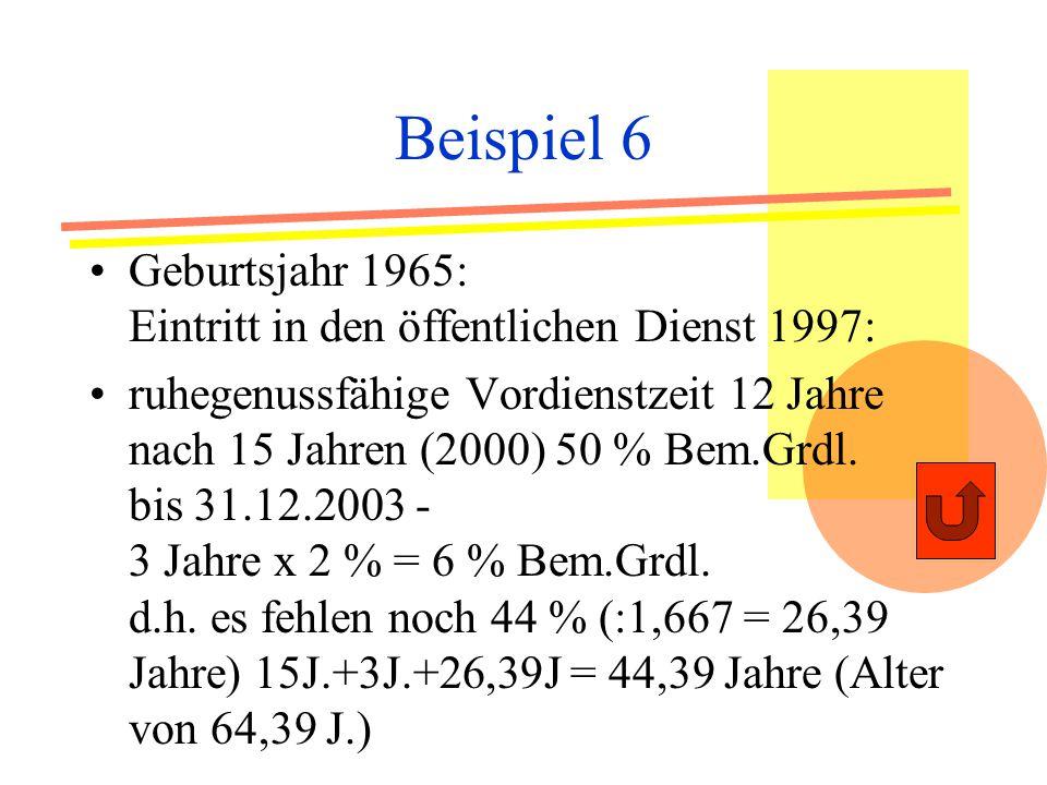 Beispiel 6 Geburtsjahr 1965: Eintritt in den öffentlichen Dienst 1997: ruhegenussfähige Vordienstzeit 12 Jahre nach 15 Jahren (2000) 50 % Bem.Grdl.