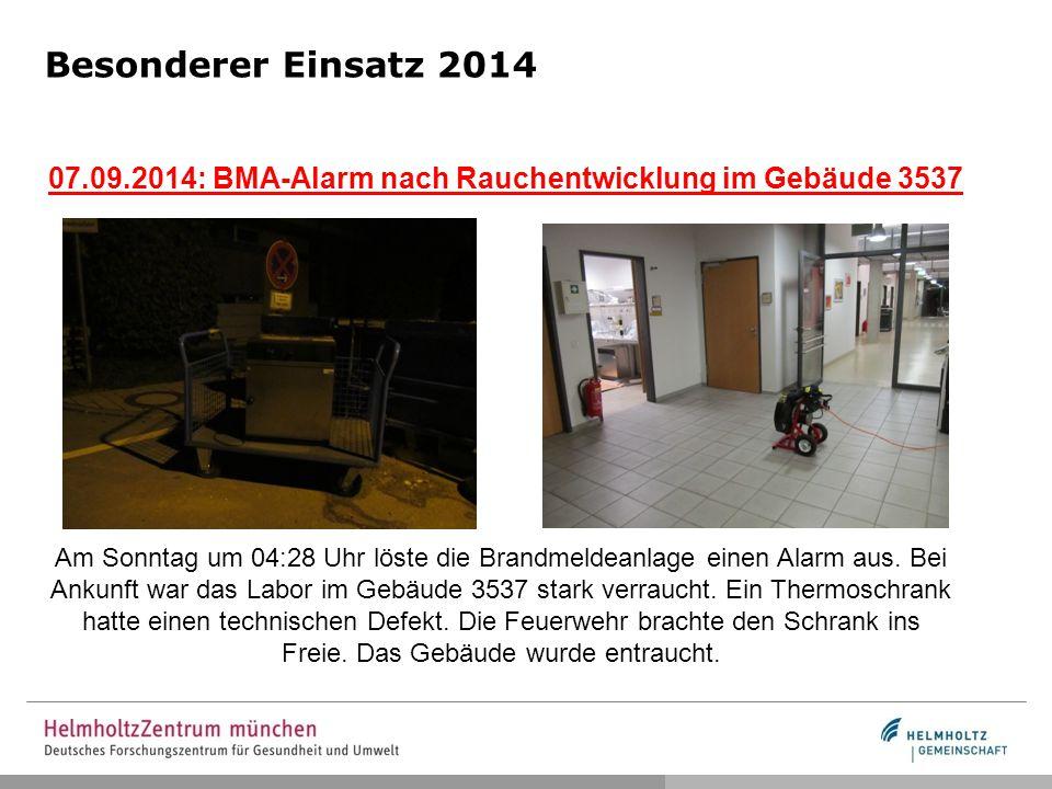 Besonderer Einsatz 2014 07.09.2014: BMA-Alarm nach Rauchentwicklung im Gebäude 3537 Am Sonntag um 04:28 Uhr löste die Brandmeldeanlage einen Alarm aus.