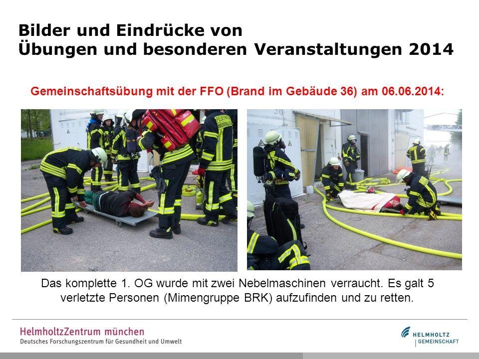 Bilder und Eindrücke von Übungen und besonderen Veranstaltungen 2014 Gemeinschaftsübung mit der FFO (Brand im Gebäude 36) am 06.06.2014: Das komplette 1.