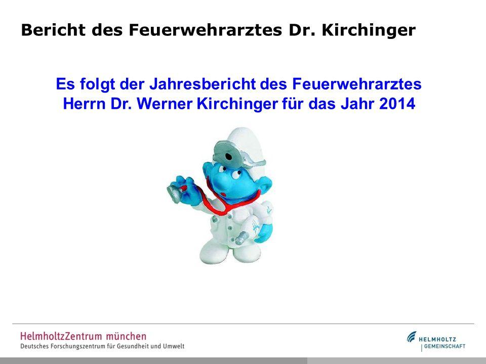 Bericht des Feuerwehrarztes Dr. Kirchinger Es folgt der Jahresbericht des Feuerwehrarztes Herrn Dr. Werner Kirchinger für das Jahr 2014