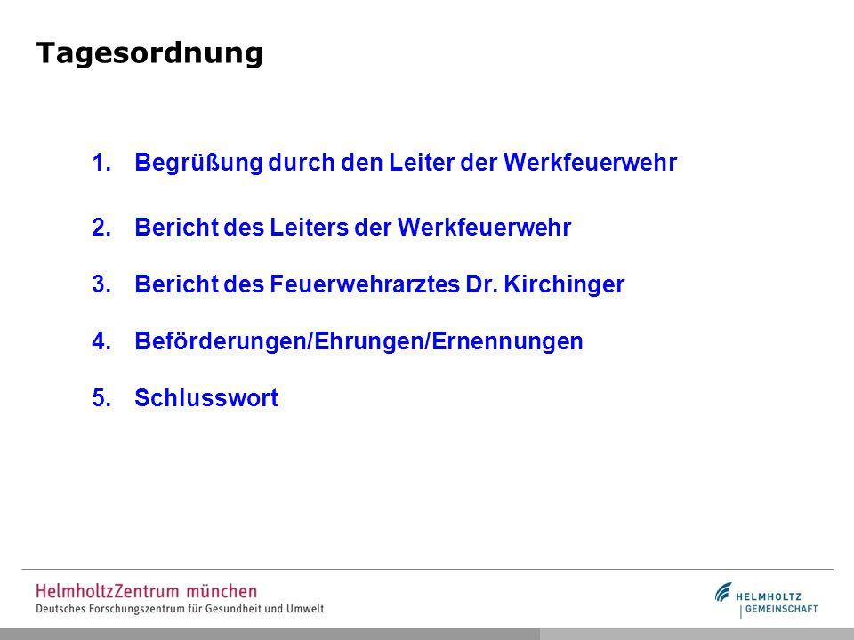 Tagesordnung 1.Begrüßung durch den Leiter der Werkfeuerwehr 2.Bericht des Leiters der Werkfeuerwehr 3.Bericht des Feuerwehrarztes Dr. Kirchinger 4.Bef