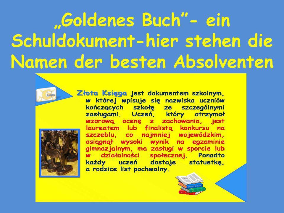 """""""Goldenes Buch - ein Schuldokument-hier stehen die Namen der besten Absolventen"""
