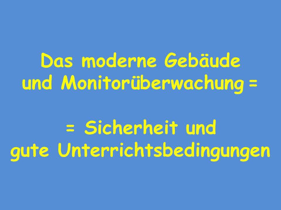 Das moderne Gebäude und Monitorüberwachung = = Sicherheit und gute Unterrichtsbedingungen