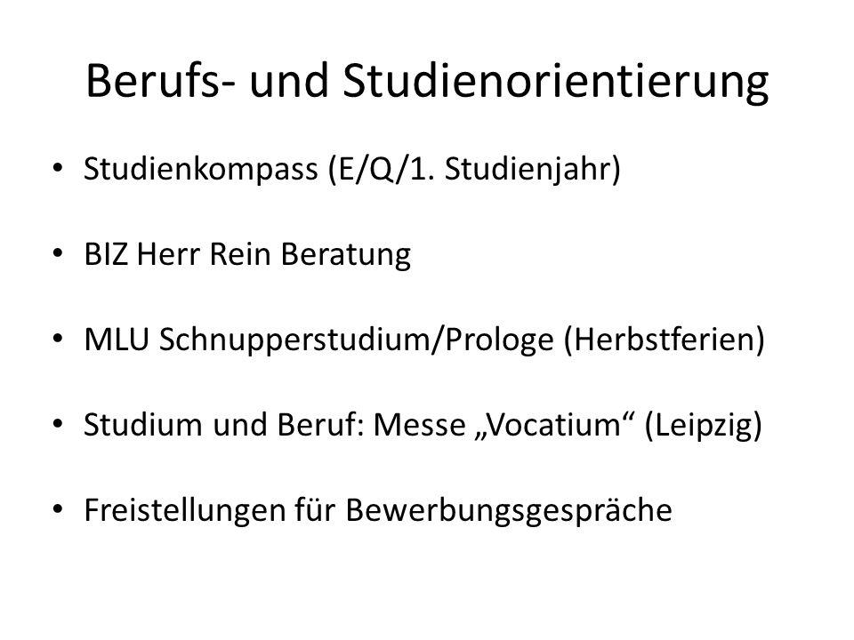 Berufs- und Studienorientierung Studienkompass (E/Q/1.