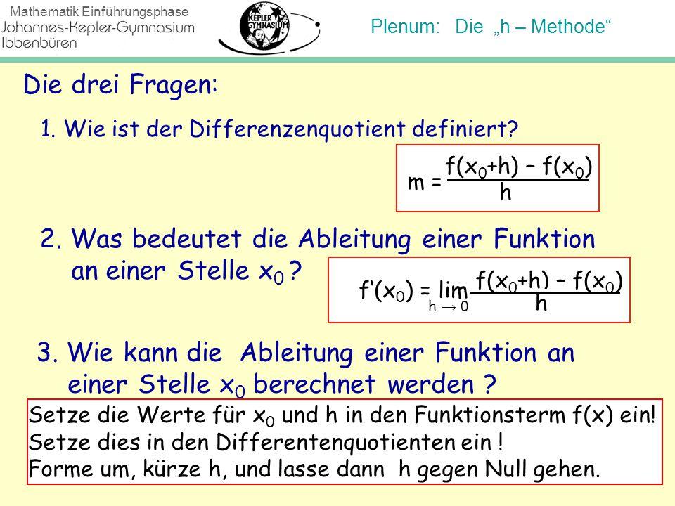 """Plenum: Die """"h – Methode"""" Mathematik Einführungsphase Die drei Fragen: 1. Wie ist der Differenzenquotient definiert? 2. Was bedeutet die Ableitung ein"""