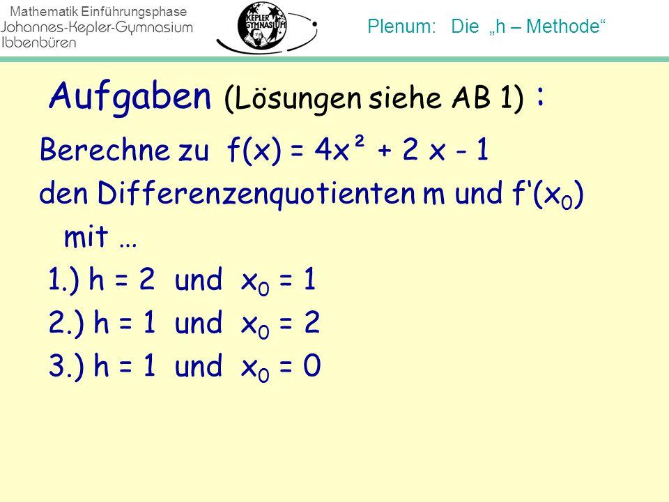 """Plenum: Die """"h – Methode"""" Mathematik Einführungsphase Aufgaben (Lösungen siehe AB 1) : Berechne zu f(x) = 4x² + 2 x - 1 den Differenzenquotienten m un"""