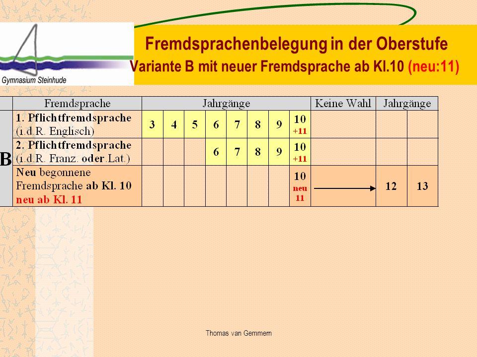 Fremdsprachenbelegung in der Oberstufe Variante B mit neuer Fremdsprache ab Kl.10 (neu:11) Thomas van Gemmern